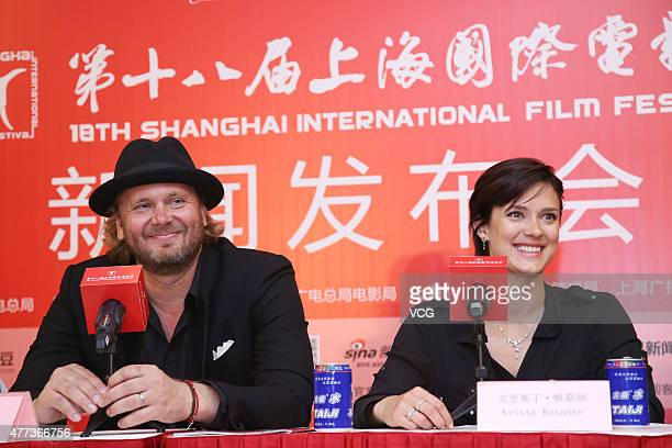 Actress Krista Kosonen and director Antti Jokinen attend The Midwife press conference as part of 18th Shanghai International Film Festival at Crowne...