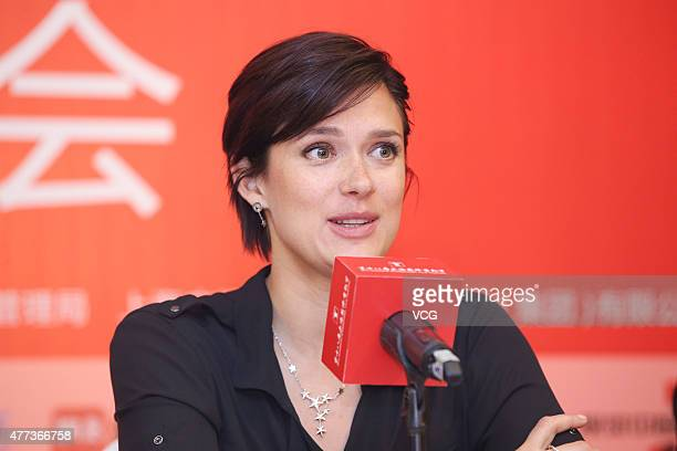 Actress Krista Kosonen attends The Midwife press conference as part of 18th Shanghai International Film Festival at Crowne Plaza on June 16 2015 in...
