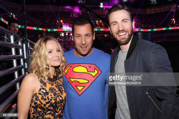 Actress Kristen Bell actor Adam Sandler and actor Chris Evans attend Nickelodeon's 27th Annual Kids' Choice Awards held at USC Galen Center on March...