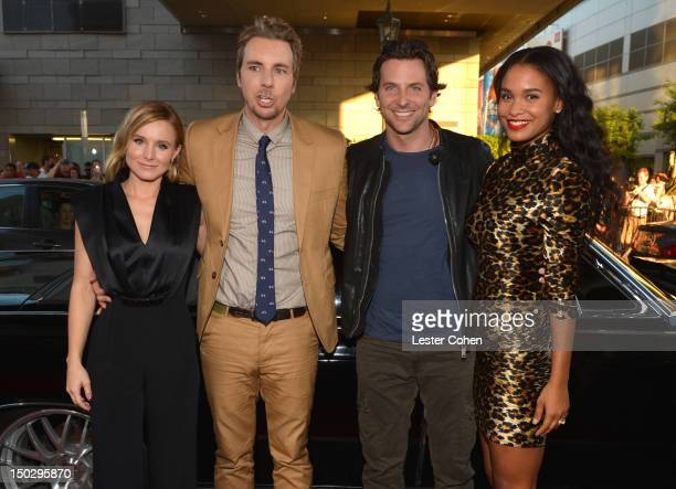 Actress Kristen Bell actor/writer Dax Shepard actors Bradley Cooper and Joy Bryant arrive at the Los Angeles premiere of Hit Run on August 14 2012 in...