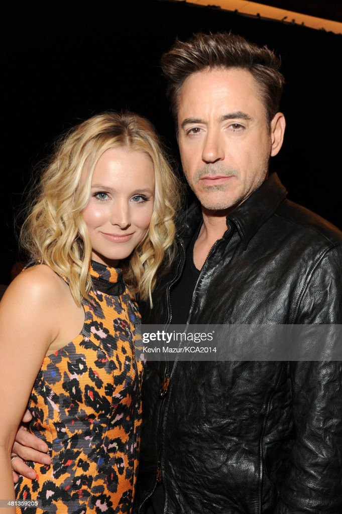Actress Kristen Bell (L) and actor Robert Downey Jr. attend Nickelodeon's 27th Annual Kids' Choice Awards held at USC Galen Center on March 29, 2014 in Los Angeles, California.