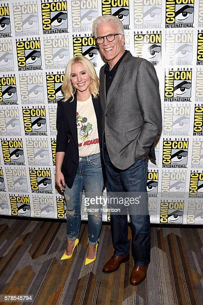 "Actress Kristen Bell and actor Ted Danson attend ""The Good Place"" press line at Hilton Bayfront on July 21, 2016 in San Diego, California."