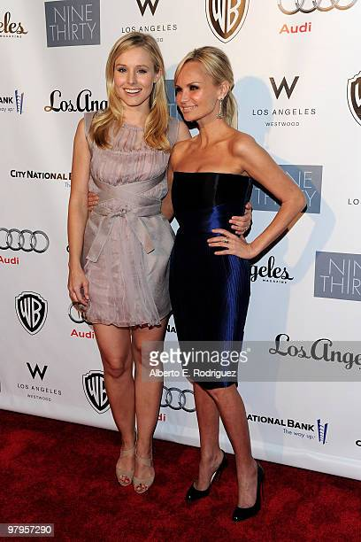 Actress Kristen Bell and actress/singer Kristin Chenoweth pose on the red carpet at the Geffen Playhouse's Annual Backstage at the Geffen Gala on...