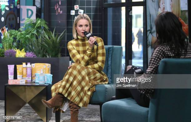 Actress Kristen Bell and host Brittany Jones-Cooper attend the Build Series to discuss the product line Hello Bello at Build Studio on February 21,...