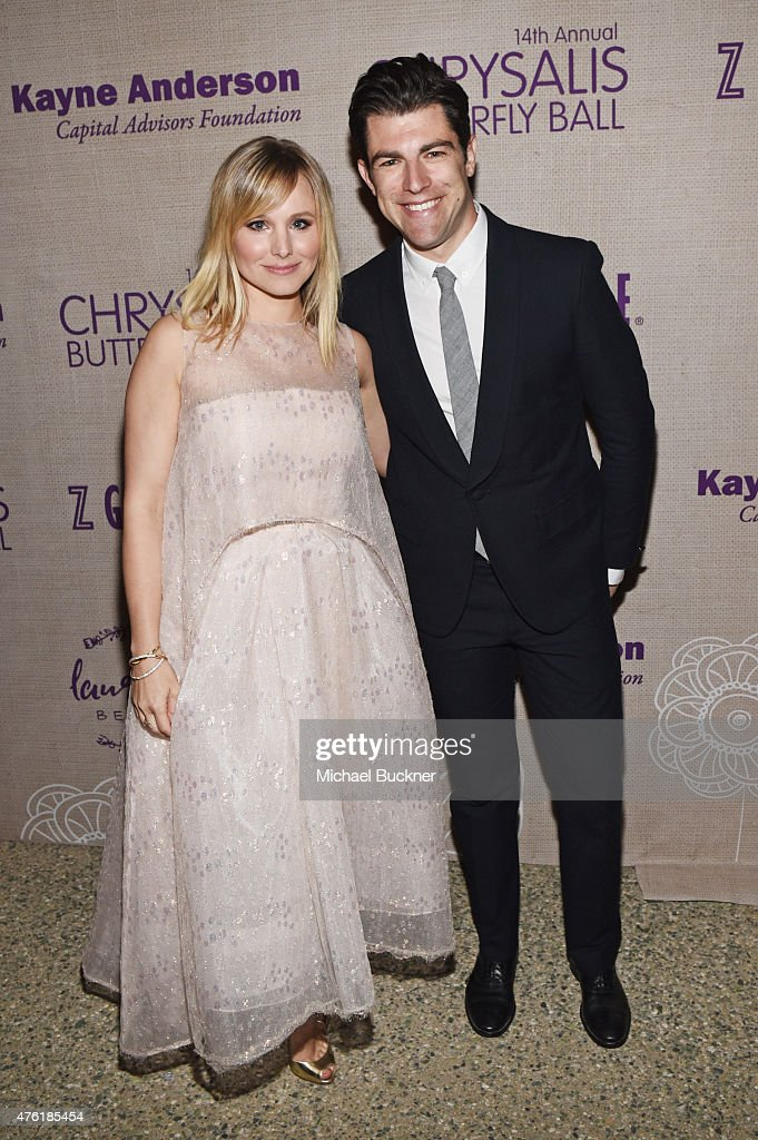 Actress Kristen Bell (L) and host Max Greenfield attend the 14th annual Chrysalis Butterfly Ball sponsored by Audi, Kayne Anderson, Lauren B. Beauty and Z Gallerie on June 6, 2015 in Los Angeles, California.