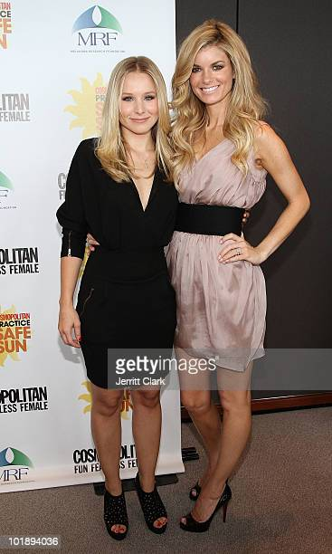 Actress Kristen Bell and model Marisa Miller attend Cosmo's 2010 Practice Safe Sun Awards Luncheon at Hearst Tower on June 8 2010 in New York City