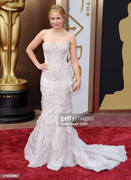 Actress Kristen Bell arrives at the 86th Annual Academy Awards at Hollywood Highland Center on March 2 2014 in Hollywood California