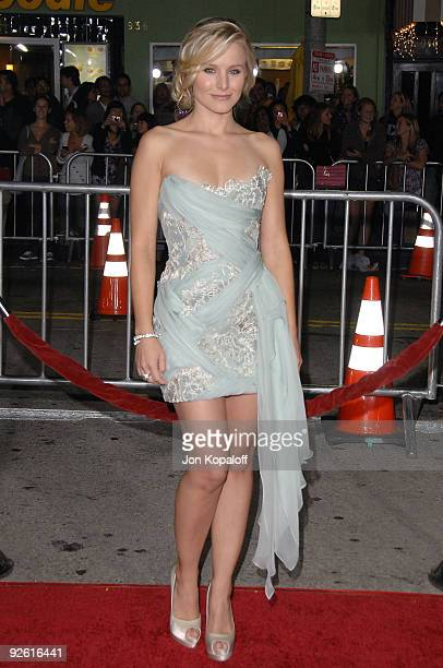 Actress Kristen Bell arrives at the Los Angeles Premiere Couples Retreat at Mann's Village Theatre on October 5 2009 in Westwood Los Angeles...