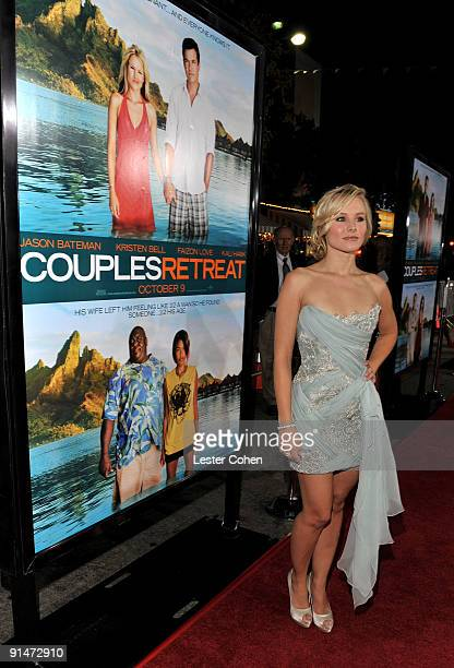 """Actress Kristen Bell arrives at the Los Angeles premiere of """"Couples Retreat"""" held the Mann's Village Theatre on October 5, 2009 in Westwood, Los..."""