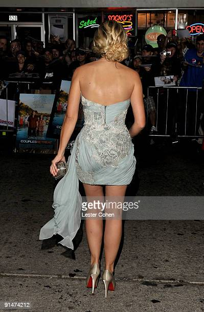 Actress Kristen Bell arrives at the Los Angeles premiere of Couples Retreat held the Mann's Village Theatre on October 5 2009 in Westwood Los Angeles...