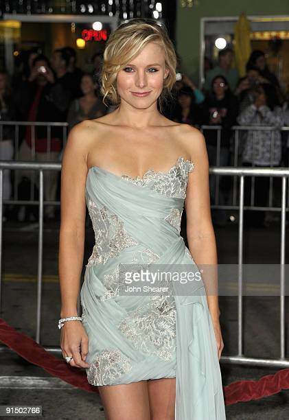 Actress Kristen Bell arrives at the Los Angeles premiere of Couples Retreat at the Mann's Village Theatre on October 5 2009 in Westwood Los Angeles...
