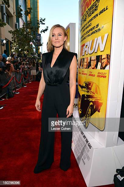 Actress Kristen Bell arrives at the Los Angeles premiere of Hit Run on August 14 2012 in Los Angeles California
