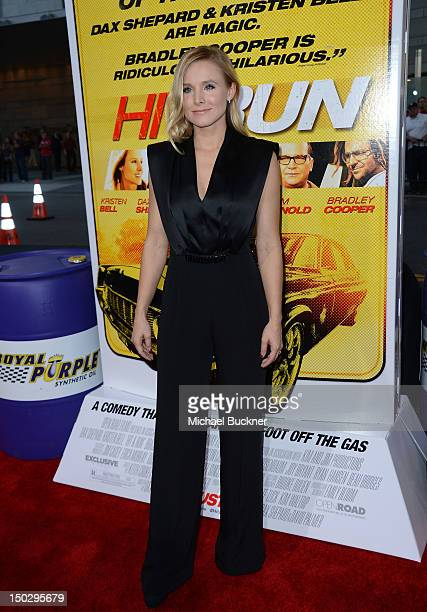 """Actress Kristen Bell arrives at the premiere of Open Road Films' """"Hit & Run"""" at the Regal Cinemas L.A. Live on August 14, 2012 in Los Angeles,..."""