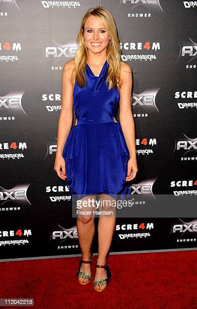 Actress Kristen Bell arrives at the premiere of the Weinstein Company's Scream 4 Presented by AXE Shower at Grauman's Chinese Theatre on April 11...