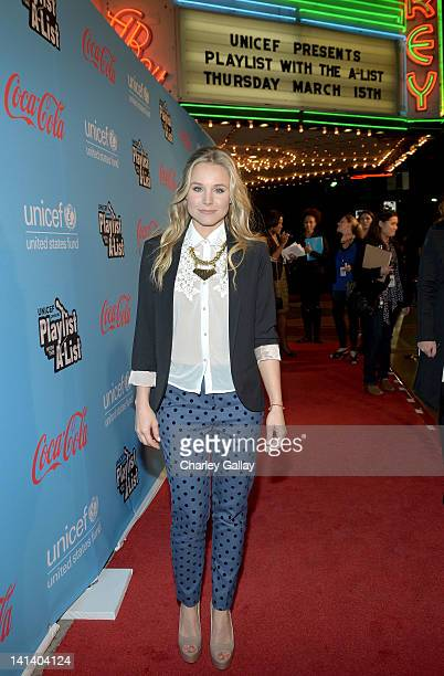 Actress Kristen Bell arrives at UNICEF Playlist With The AList at El Rey Theatre on March 15 2012 in Los Angeles California