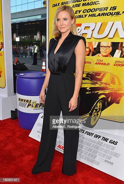 Actress Kristen Bell arrives to the premiere of Open Road Films' Hit and Run on August 14 2012 in Los Angeles California