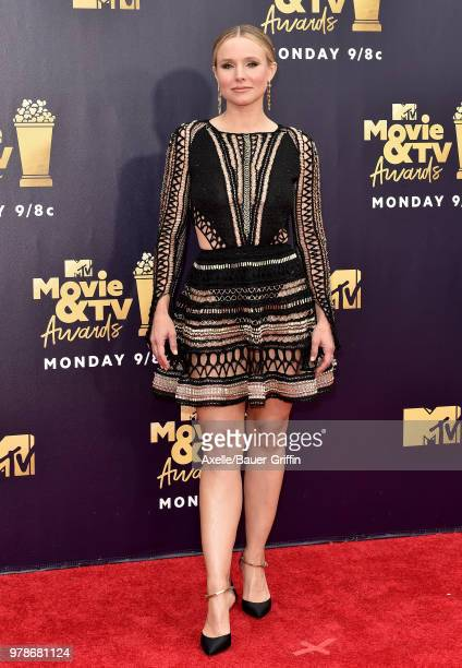 Actress Kristen Bell attends the 2018 MTV Movie And TV Awards at Barker Hangar on June 16 2018 in Santa Monica California