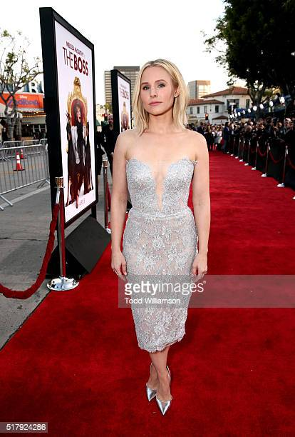 """Actress Kristen Bell attends the premiere of USA Pictures' """"The Boss"""" at Regency Village Theatre on March 28, 2016 in Westwood, California."""