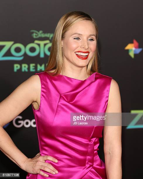 Actress Kristen Bell attends the premiere of Walt Disney Animation Studios' 'Zootopia' held at the El Capitan Theatre on February 17 2016 in...