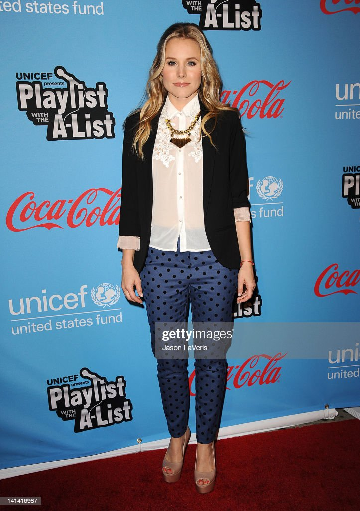 Actress Kristen Bell attends the UNICEF 'Playlist With The A-List' celebrity karaoke benefit at El Rey Theatre on March 15, 2012 in Los Angeles, California.