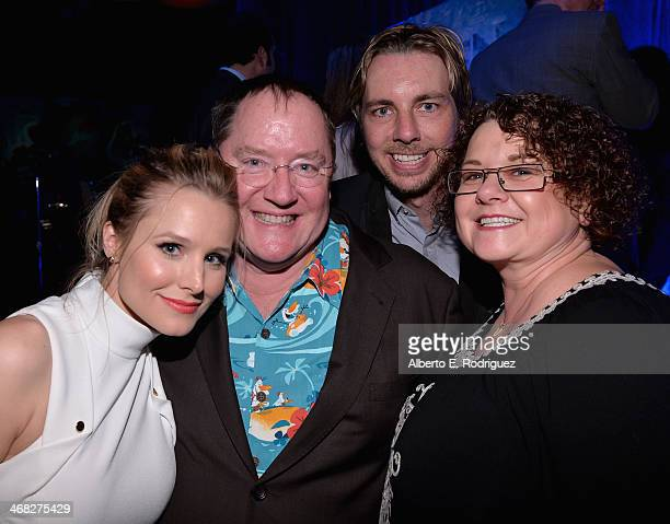 Actress Kristen Bell executive producer John Lasseter actor Dax Shepard and Nancy Lasseter attend The Celebration Of The Music Of Disney's 'Frozen'...