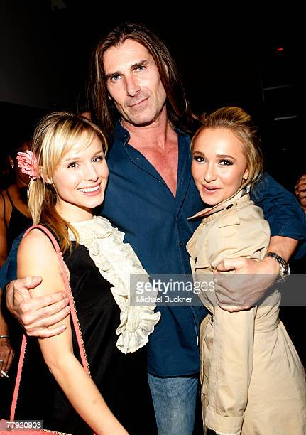 Actress Kristen Bell model Fabio Lanzoni and actress Hayden Panettiere attend the grand opening of Lamborghini Calabasas on November 14 2007 in...