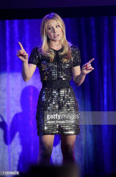 Actress Kristen Bell performs onstage during the 19th annual A Night At Sardi's fundraiser and awards dinner benefitting the Alzheimer's Association...