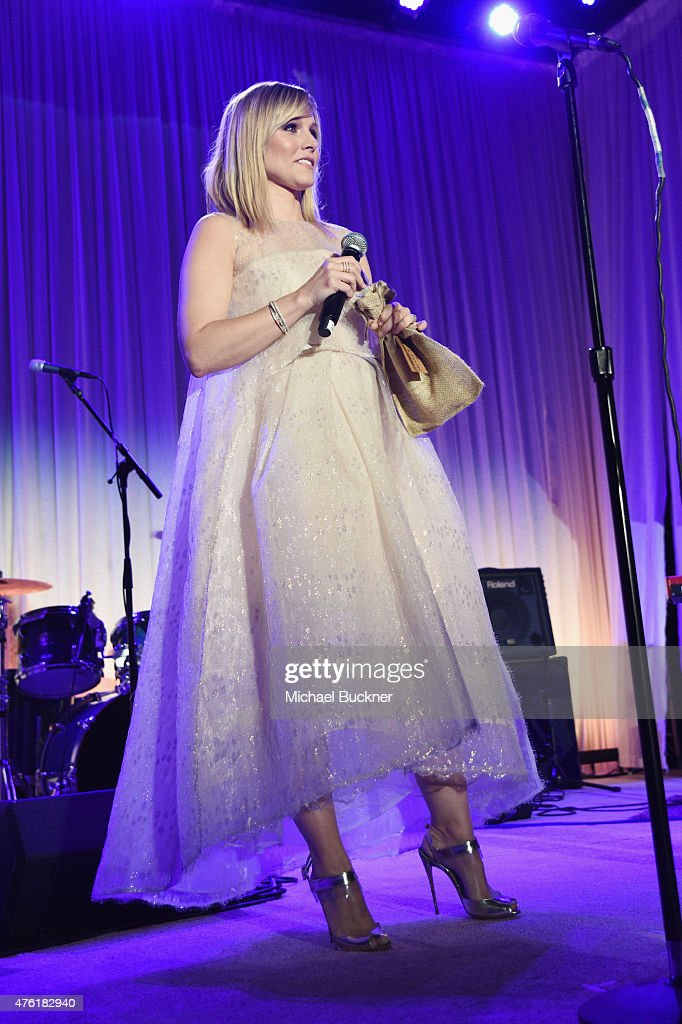 Actress Kristen Bell speaks onstage at the 14th annual Chrysalis Butterfly Ball sponsored by Audi, Kayne Anderson, Lauren B. Beauty and Z Gallerie on June 6, 2015 in Los Angeles, California.
