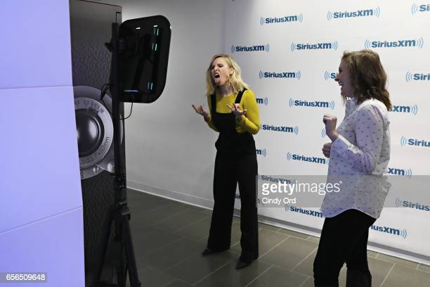 Actress Kristen Bell uses the GIPHY booth to create a GIF during her visit to the SiriusXM Studios on March 22 2017 in New York City