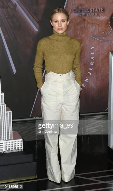 Actress Kristen Bell visits The Empire State Building in support of The Women's Peace and Humanitarian Fund at on September 27 2018 in New York City