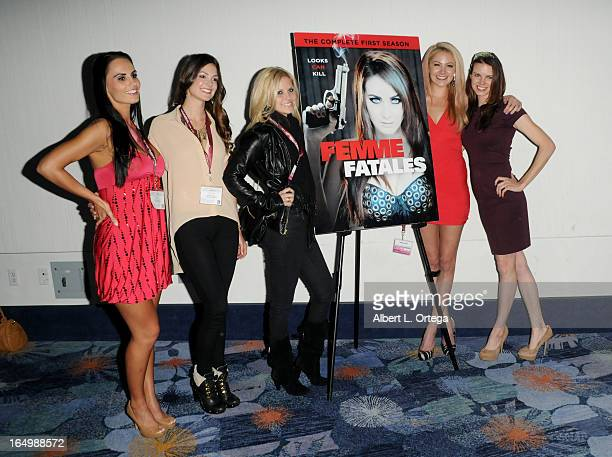 Actress Kristen DeLuca Tiffany Brouwer Nikki Griffin Madison Dylan and Catherine Annette promote Cinemax's Femme Fatales at WonderCon Anaheim 2013...
