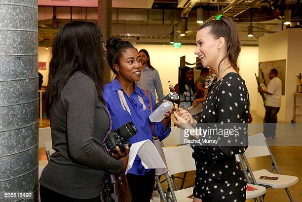 Actress Kristen Gutoskie discusses the screening with guests during the JustFab StyleHaul Screening Relationship Status on April 28 2016 in Los...