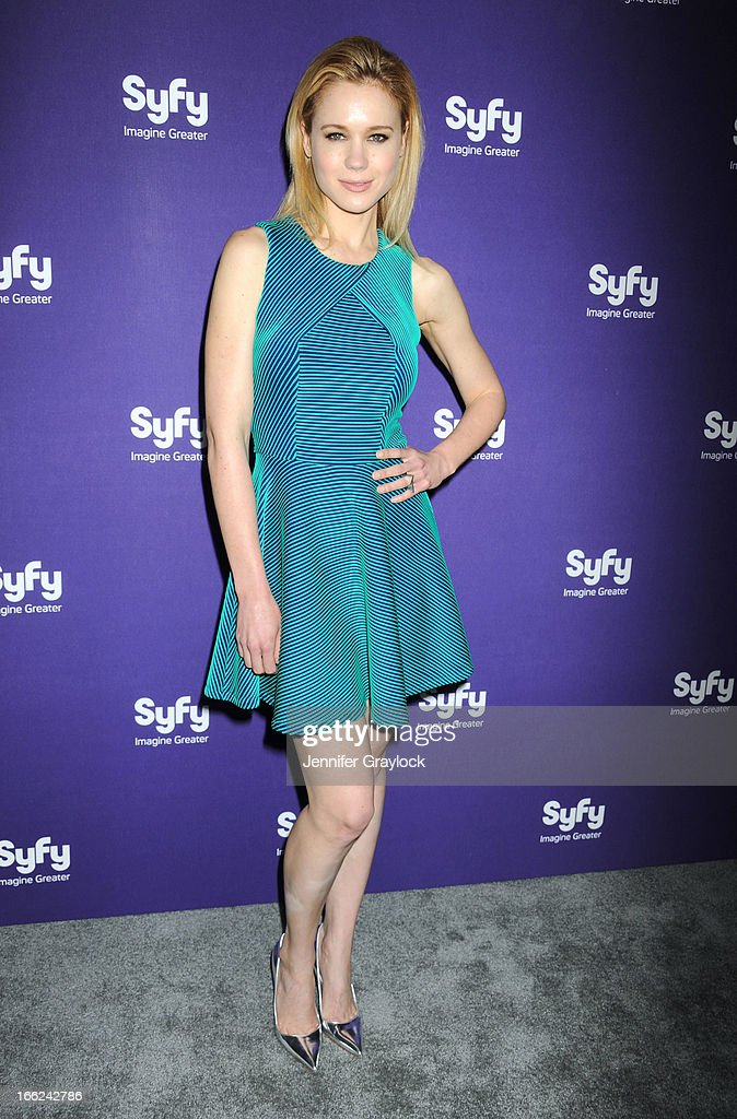 Actress Kristen Hager attends the Syfy 2013 Upfront at Silver Screen Studios at Chelsea Piers on April 10, 2013 in New York City.