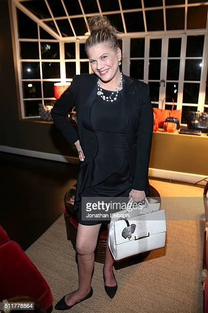 Actress Kristen Johnston attends a dinner for the launch of the first luxury handbag collection by Christian Siriano at Chateau Marmont on February...