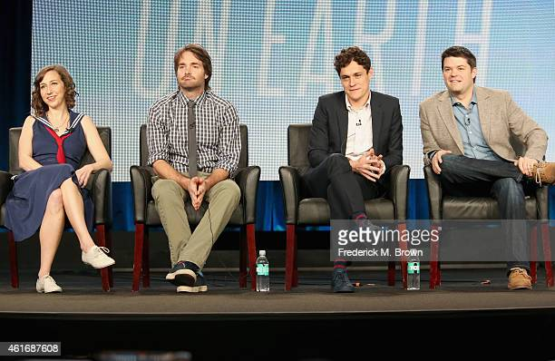 Actress Kristen Schaal, creator/actor/executive producer Will Forte and executive producers Phil Lord and Chris Miller speak onstage during the 'Last...