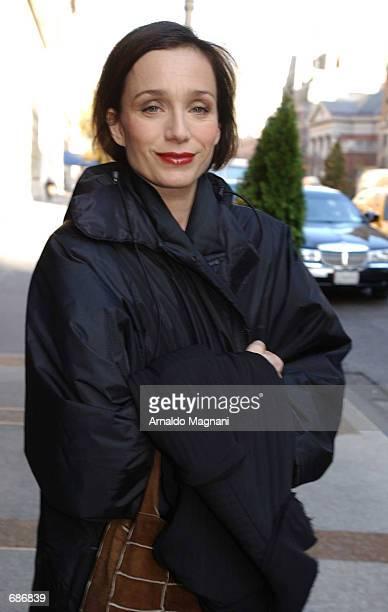 Actress Kristen Scott Thomas walks along Park Avenue December 11 2001 in New York City