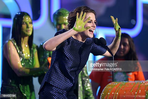 Actress Kristen Stewart accepts the Kids' Choice Award for Favorite Movie Actress onstage during Nickelodeon's 26th Annual Kids' Choice Awards at USC...
