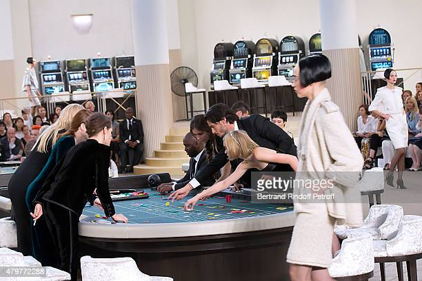 Actress Kristen Stewart Actress Julianne Moore Model Lara Stone Actress Tugba Sunguroglu Baptiste Giabiconi and LilyRose Depp attend the Chanel show...