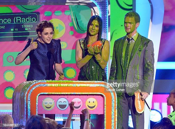 Actress Kristen Stewart actress Sandra Bullock and actor Neil Patrick Harris perform during Nickelodeon's 26th Annual Kids' Choice Awards at USC...
