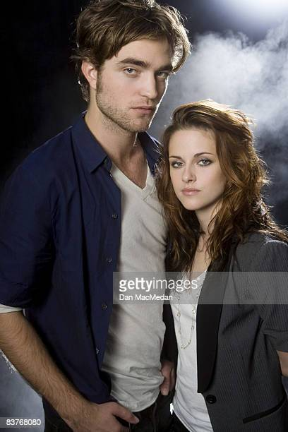 Actress Kristen Stewart and actor Robert Pattinson pose at a portrait session in Beverly Hills CA Published image