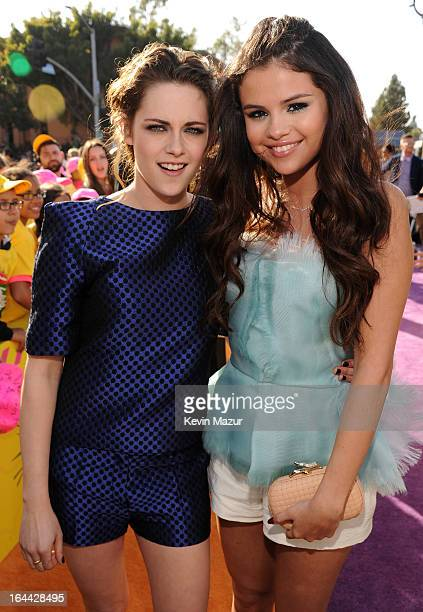 Actress Kristen Stewart and actress/singer Selena Gomez arrive at Nickelodeon's 26th Annual Kids' Choice Awards at USC Galen Center on March 23 2013...