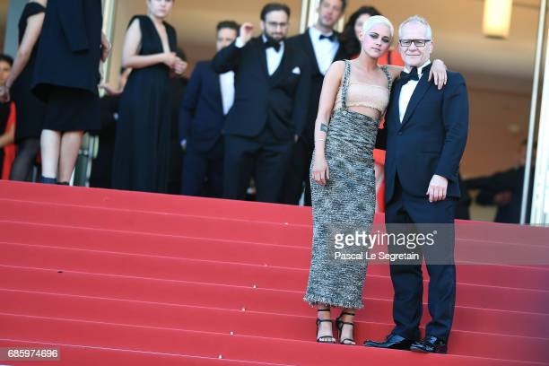 Actress Kristen Stewart and Director of the Cannes Film Festival Thierry Fremaux attend the '120 Beats Per Minute ' screening during the 70th annual...
