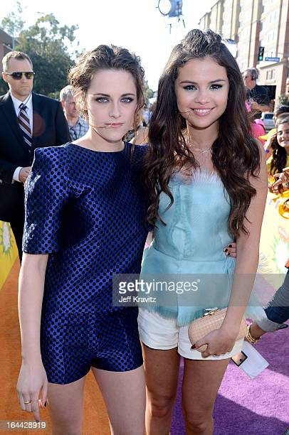 Actress Kristen Stewart and singer Selena Gomez arrive at Nickelodeon's 26th Annual Kids' Choice Awards at USC Galen Center on March 23 2013 in Los...
