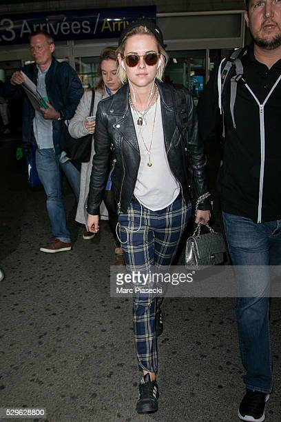 Actress Kristen Stewart arrives at Nice airport during the annual 69th Cannes Film Festival at Nice Airport on May 9 2016 in Nice France