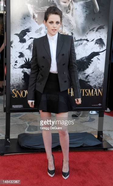 Actress Kristen Stewart arrives at 'Snow White And The Huntsman' Los Angeles screening at Westwood Village on May 29 2012 in Los Angeles California