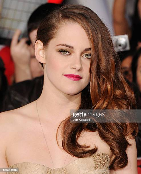 """Actress Kristen Stewart arrives at the Los Angeles Premiere """"The Twilight Saga: Breaking Dawn - Part 2"""" at Nokia Theatre L.A. Live on November 12,..."""