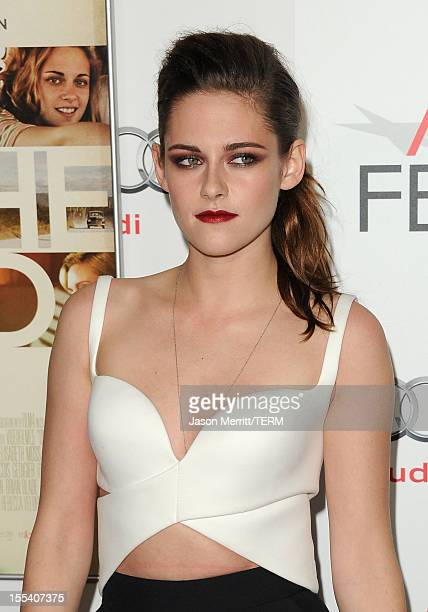 Actress Kristen Stewart arrives at the On The Road premiere during the 2012 AFI Fest presented by Audi at Grauman's Chinese Theatre on November 3...