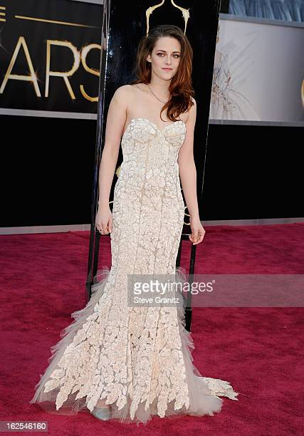 Actress Kristen Stewart arrives at the Oscars at Hollywood Highland Center on February 24 2013 in Hollywood California
