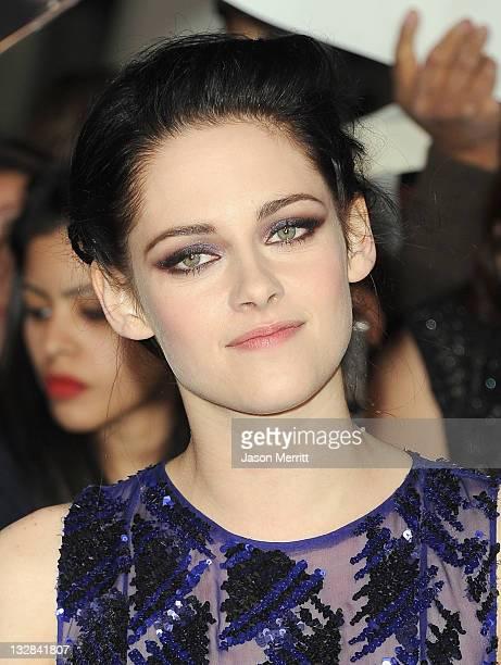 Actress Kristen Stewart arrives at the Premiere of Summit Entertainment's 'The Twilight Saga Breaking Dawn Part 1' at Nokia Theatre LA Live on...