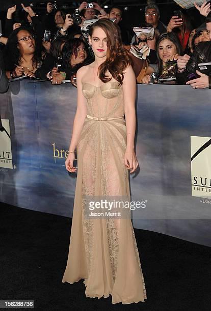 Actress Kristen Stewart arrives at the premiere of Summit Entertainment's The Twilight Saga Breaking Dawn Part 2 at Nokia Theatre LA Live on November...